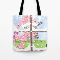 Christmas Tabby cat looking out the window Tote Bag