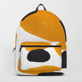 Mid Century Abstract Black & Yellow Fun Pattern Floating Mustard Bubbles Cheetah Print Backpack