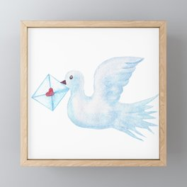 dove with envelope Framed Mini Art Print