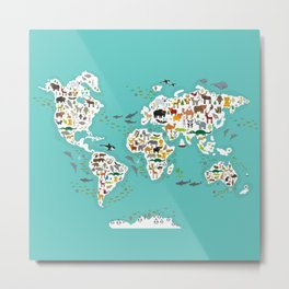 Cartoon animal world map for children and kids, Animals from all over the world back to school Metal Print