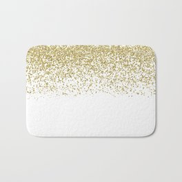 Sparkling gold glitter confetti on simple white background - Pattern Bath Mat
