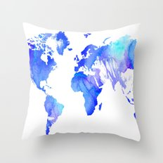 Watercolour World Throw Pillow