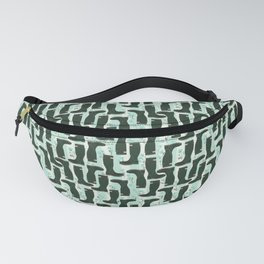 Hunter Green Wellington Welly Boots with Bluebell Flowers on Pastel Aqua Streaky Stripes Fanny Pack