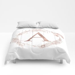 Letter A Rose Gold Pink Initial Monogram Comforters