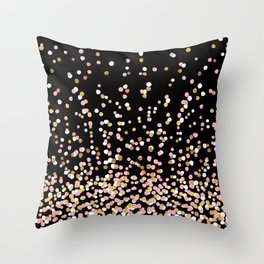 Floating Dots - White, Gold and Pink on Black Throw Pillow
