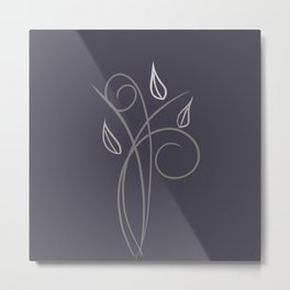 Floral Whimsy Charcoal  Metal Print