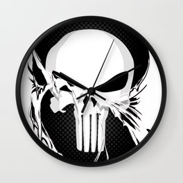 Punisher Skull Within Ripped Fabric Wall Clock