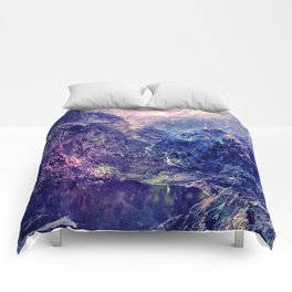 Galaxy Mountains : Deep Pastels Comforters