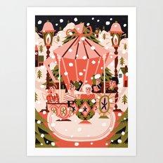 Christmas Coffee Carousel Art Print
