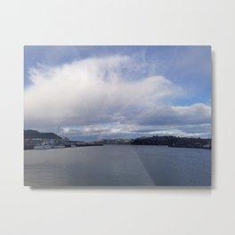 Sudden Rainbow Over the Cloudy Docks Metal Print