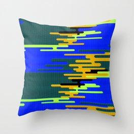 Blue Green Yellow 8Bit Clouds Throw Pillow