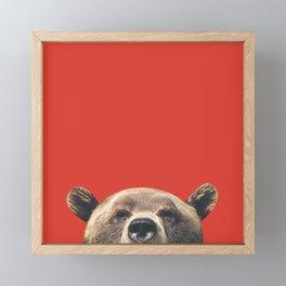Bear - Red Framed Mini Art Print
