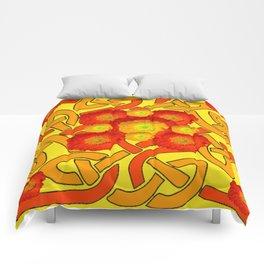 Decorative Orange Poppies Color Yellow Celtic Art Comforters