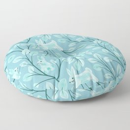 Jumping Mint Bunnies and Leaf Branches Spring Watercolor Hand-painted Cute Teal Green Rabbit Pattern Floor Pillow