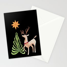 Deer near a tree, gazing at a star Stationery Cards