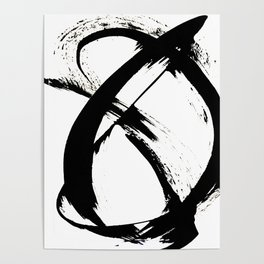 Brushstroke 7: a minimal, abstract, black and white piece Poster