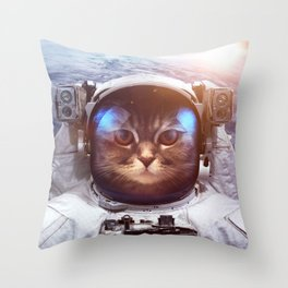 Cat in space Throw Pillow