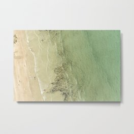 Aerial views over the crystal clear sea at Polzeath Beach, Cornwall Metal Print
