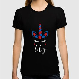 Unicorn 4th of July Birthday Party Girl Name Lily design T-shirt