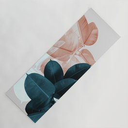 Blush & Blue Leaves Yoga Mat