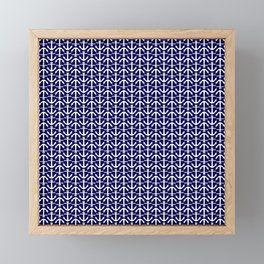 Maritime Nautical Blue and White Small Anchor Pattern Framed Mini Art Print