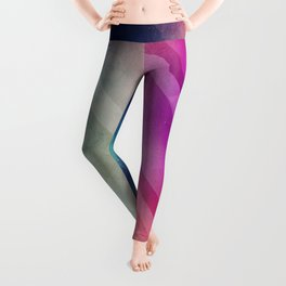 Vivid - Colorful Geometric Mountains Texture Pattern Leggings