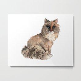 Fluffy Cat Watercolor Painting Metal Print