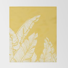 Banana Leaves on Yellow #society6 #decor #buyart Throw Blanket