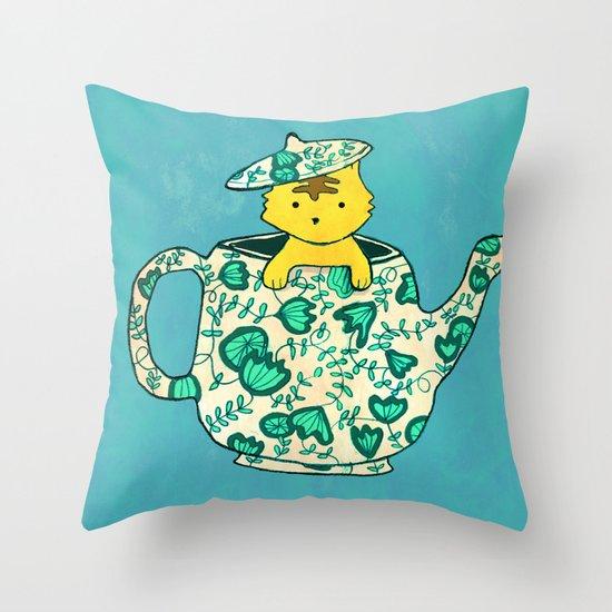 Dinnerware sets - Kitten in a teapot Throw Pillow