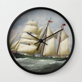 Vintage Ship Oil Painting Reproduction Wall Clock