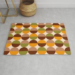 Retro circles grid 70s brown orange green Rug
