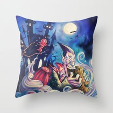 Vampire vs Kunoichi (Female Ninja) Throw Pillow