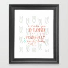 Fearfully & Wonderfully Made [peach & gray] Framed Art Print