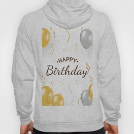 Happy birthday with gold and silver balloons, golden confetti Hoody