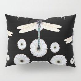 SURREAL WHITE DRAGONFLIES FLOWERS BLACK COLOR PATTERNS Pillow Sham