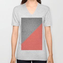 Geometrical Color Block Diagonal Concrete vs coral Unisex V-Neck