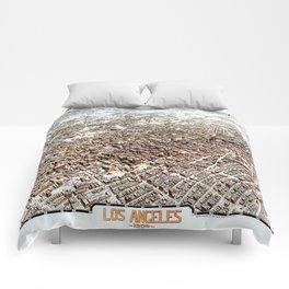 LOS ANGELES CALIFORNIA city old map Father Day art print poster Comforters