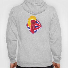 hand hold flaming torch british flag retro Hoody