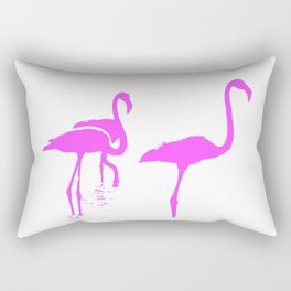 Three Flamingos Pink Silhouette Isolated Rectangular Pillow
