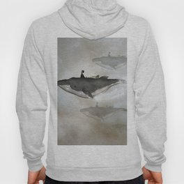 Awesome whale with women flying in the sky Hoody