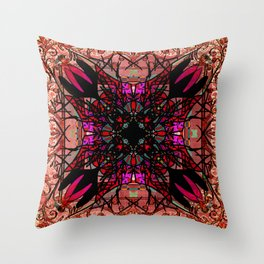 Ornate Red Pink and Gold Antique Mandala Rug Throw Pillow