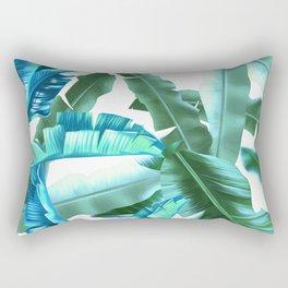 tropical banana leaves pattern turquoise Rectangular Pillow