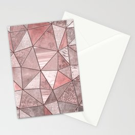 Soft Pink Coral Glamour Gemstone Triangles Stationery Cards