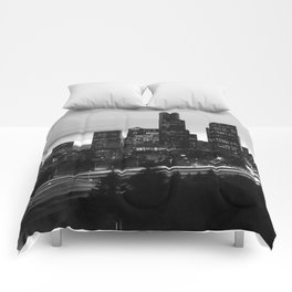Seattle Skyline Sunset City - Black and White Comforters