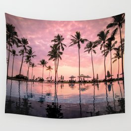 Pastel Sunset Palms Wall Tapestry