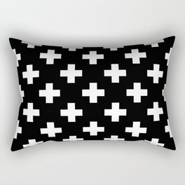 Black & White Plus Sign Pattern Rectangular Pillow