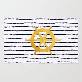 Marine pattern- Navy blue white striped with golden wheel Rug