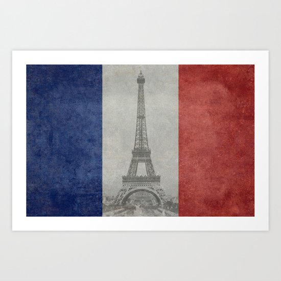 Flag of France with Eiffel Tower Vintage style Art Print