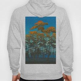 Vintage Japanese Woodblock Print Art Print Tall Sunset Trees Silhouette Twilight Forest East Asian Hoody