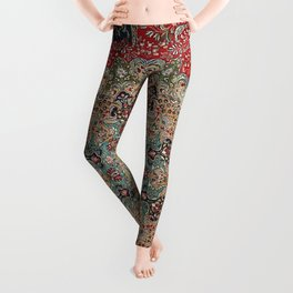 Antique Red Blue Black Persian Carpet Print Leggings